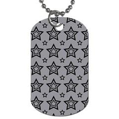 Star Grey Black Line Space Dog Tag (One Side)