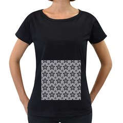 Star Grey Black Line Space Women s Loose Fit T Shirt (black)
