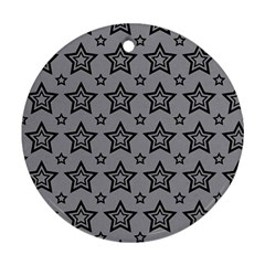 Star Grey Black Line Space Round Ornament (Two Sides)