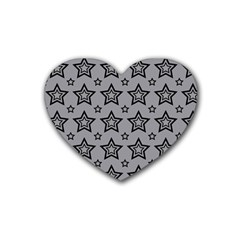 Star Grey Black Line Space Heart Coaster (4 pack)