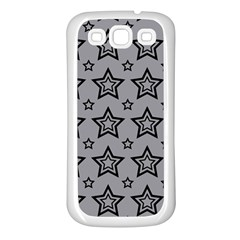 Star Grey Black Line Space Samsung Galaxy S3 Back Case (White)