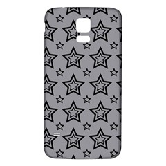Star Grey Black Line Space Samsung Galaxy S5 Back Case (White)