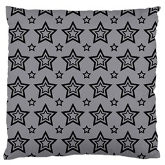 Star Grey Black Line Space Standard Flano Cushion Case (Two Sides)