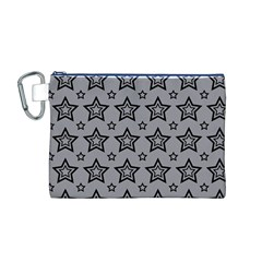 Star Grey Black Line Space Canvas Cosmetic Bag (M)
