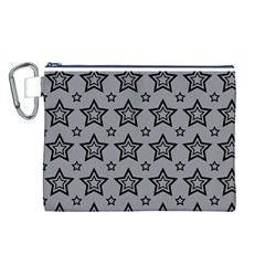 Star Grey Black Line Space Canvas Cosmetic Bag (L)