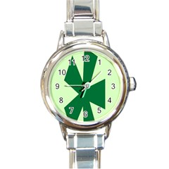 Starburst Shapes Large Circle Green Round Italian Charm Watch