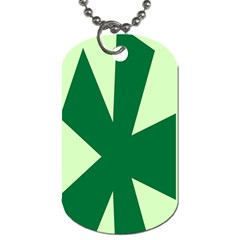 Starburst Shapes Large Circle Green Dog Tag (One Side)