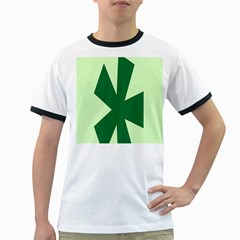 Starburst Shapes Large Circle Green Ringer T-Shirts