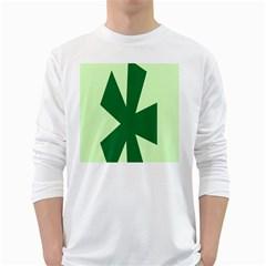 Starburst Shapes Large Circle Green White Long Sleeve T-Shirts