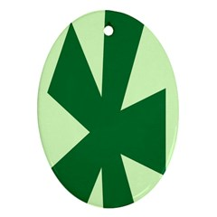 Starburst Shapes Large Circle Green Oval Ornament (Two Sides)