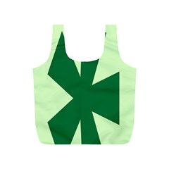 Starburst Shapes Large Circle Green Full Print Recycle Bags (S)