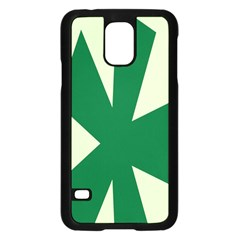 Starburst Shapes Large Circle Green Samsung Galaxy S5 Case (Black)