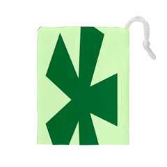 Starburst Shapes Large Circle Green Drawstring Pouches (Large)