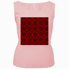 Star Red Black Line Space Women s Pink Tank Top