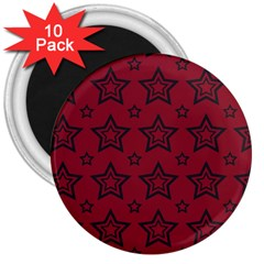 Star Red Black Line Space 3  Magnets (10 Pack)