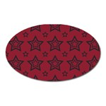 Star Red Black Line Space Oval Magnet Front