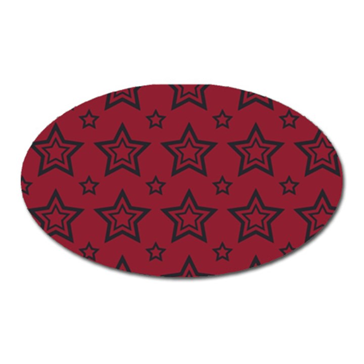 Star Red Black Line Space Oval Magnet