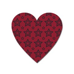 Star Red Black Line Space Heart Magnet