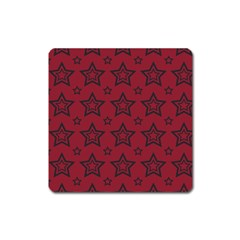Star Red Black Line Space Square Magnet