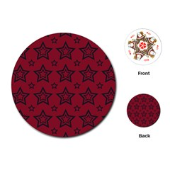 Star Red Black Line Space Playing Cards (Round)