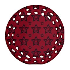 Star Red Black Line Space Round Filigree Ornament (Two Sides)