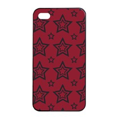 Star Red Black Line Space Apple iPhone 4/4s Seamless Case (Black)