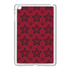 Star Red Black Line Space Apple iPad Mini Case (White)