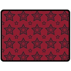 Star Red Black Line Space Double Sided Fleece Blanket (Large)