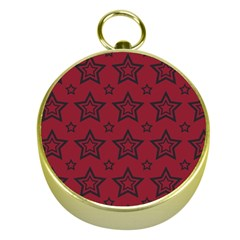 Star Red Black Line Space Gold Compasses