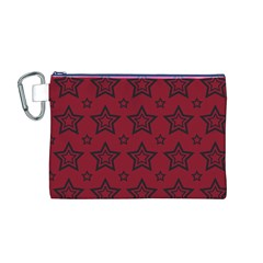 Star Red Black Line Space Canvas Cosmetic Bag (M)