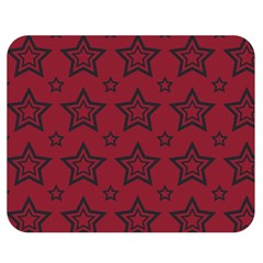Star Red Black Line Space Double Sided Flano Blanket (Medium)