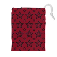 Star Red Black Line Space Drawstring Pouches (Extra Large)