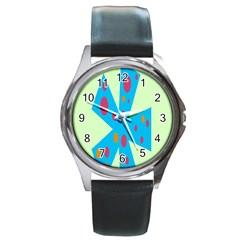 Starburst Shapes Large Circle Green Blue Red Orange Circle Round Metal Watch