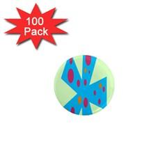 Starburst Shapes Large Circle Green Blue Red Orange Circle 1  Mini Magnets (100 pack)