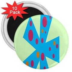 Starburst Shapes Large Circle Green Blue Red Orange Circle 3  Magnets (10 Pack)
