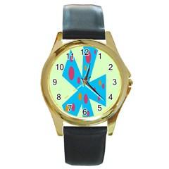 Starburst Shapes Large Circle Green Blue Red Orange Circle Round Gold Metal Watch
