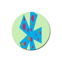 Starburst Shapes Large Circle Green Blue Red Orange Circle Rubber Coaster (round)