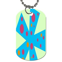 Starburst Shapes Large Circle Green Blue Red Orange Circle Dog Tag (One Side)