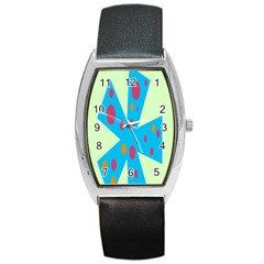 Starburst Shapes Large Circle Green Blue Red Orange Circle Barrel Style Metal Watch
