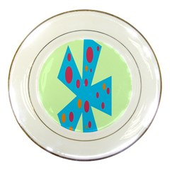 Starburst Shapes Large Circle Green Blue Red Orange Circle Porcelain Plates