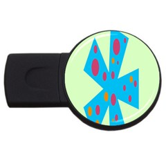 Starburst Shapes Large Circle Green Blue Red Orange Circle Usb Flash Drive Round (4 Gb)