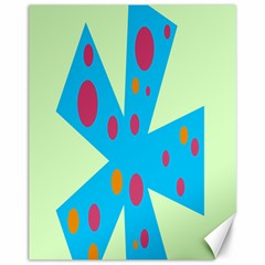 Starburst Shapes Large Circle Green Blue Red Orange Circle Canvas 11  x 14