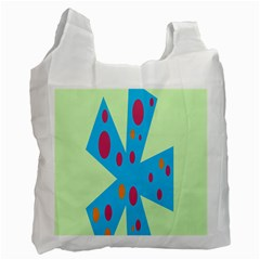 Starburst Shapes Large Circle Green Blue Red Orange Circle Recycle Bag (Two Side)
