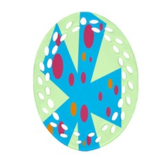 Starburst Shapes Large Circle Green Blue Red Orange Circle Oval Filigree Ornament (Two Sides)