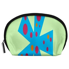 Starburst Shapes Large Circle Green Blue Red Orange Circle Accessory Pouches (Large)