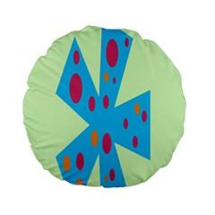 Starburst Shapes Large Circle Green Blue Red Orange Circle Standard 15  Premium Flano Round Cushions
