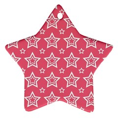 Star Pink White Line Space Ornament (Star)