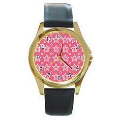 Star Pink White Line Space Round Gold Metal Watch