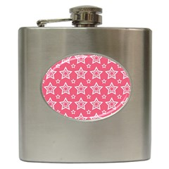 Star Pink White Line Space Hip Flask (6 oz)