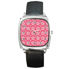 Star Pink White Line Space Square Metal Watch
